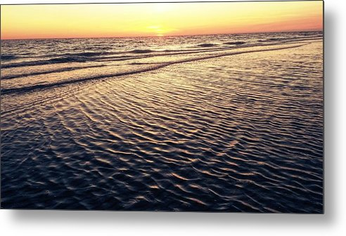 Metal Print featuring the digital art Sunset Beach In Florida Paradise by Alfred Blaho
