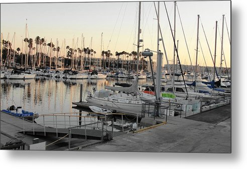 Boat Metal Print featuring the photograph Sunset Marina Del Ray Marina by Kathi Tesone