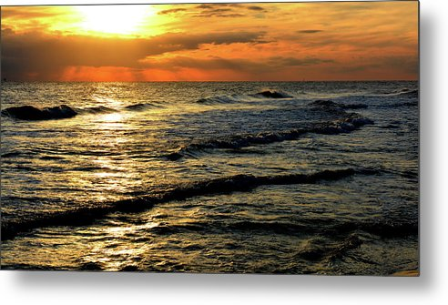Seascape Metal Print featuring the digital art Sunset Over The Gulf by Janet Duffey