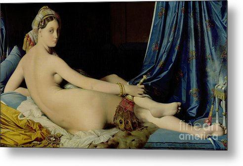 The Metal Print featuring the painting The Grande Odalisque by Ingres