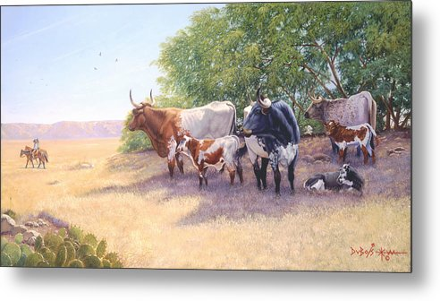 Longhorns Metal Print featuring the painting The Lookers by Howard Dubois