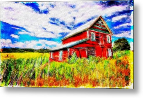 Red Metal Print featuring the painting The Old Red Barn by Don Barrett