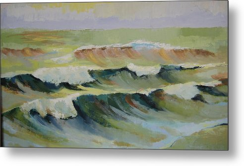 Seascape Metal Print featuring the painting The Sea by Mabel Moyano