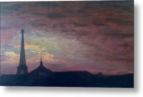 Landscape Paris France Calm Metal Print featuring the painting This Is Not The Eiffel Tower by Sally Van Driest