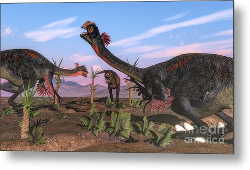 Dinosaur Metal Print featuring the digital art Tyrannosaurus Rex Attacking by Elena Duvernay