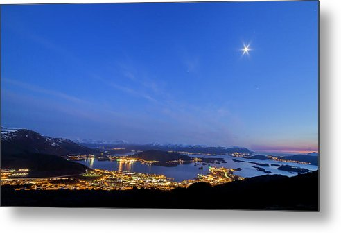 Ulsteinvik Metal Print featuring the photograph Ulsteinvik By Night by Arild Lilleboe
