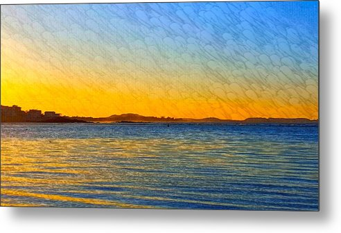Blue Ocean Water Metal Print featuring the photograph Winter Sunset Over Ipswich Bay by Harriet Harding