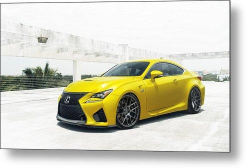 Yellow Lexus Metal Print featuring the digital art Yellow Lexus4 by Mery Moon