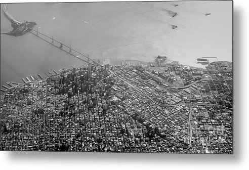 Bridge Metal Print featuring the photograph Aerial View Of Downtown San Francisco From The Air by PorqueNo Studios