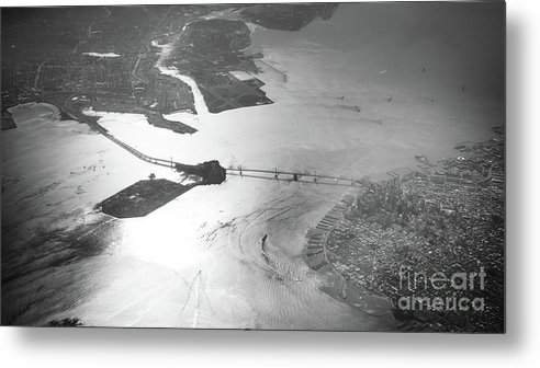 Bridge Metal Print featuring the photograph Black And White Aerial View Of Downtown San Francisco With Sun R by PorqueNo Studios