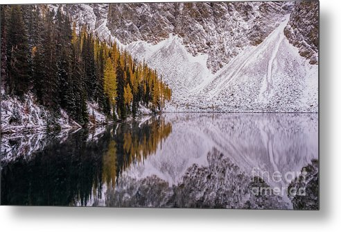 Enchantments Metal Print featuring the photograph Blue Lake Fall Symmetry by Mike Reid