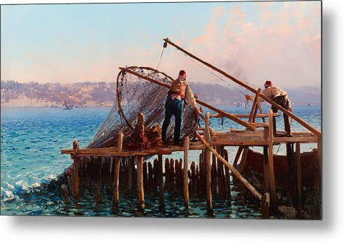 Painting Metal Print featuring the painting Fishermen Bringing In The Catch by Mountain Dreams