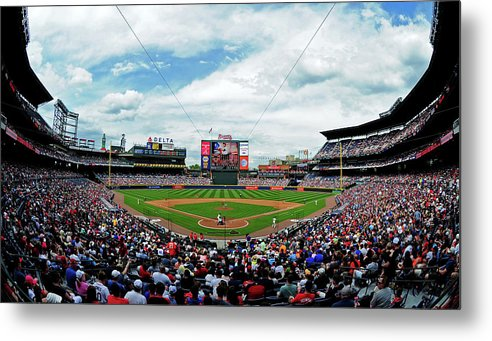 Atlanta Metal Print featuring the photograph Washington Nationals V Atlanta Braves by Scott Cunningham