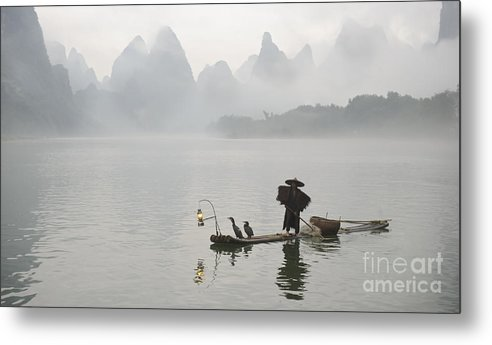 Asia Metal Print featuring the photograph Chinese Fisherman On Li River, China by John Shaw