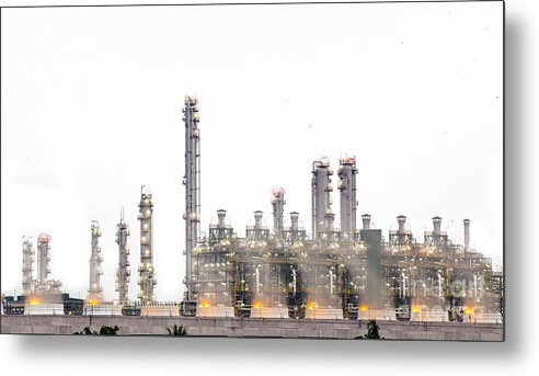 Chemical Metal Print featuring the photograph Stream Power Plant by Anek Suwannaphoom