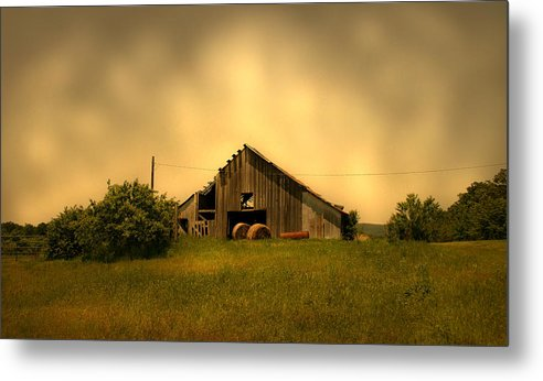 Barn Metal Print featuring the photograph Barn With Hay Bales by Nina Fosdick