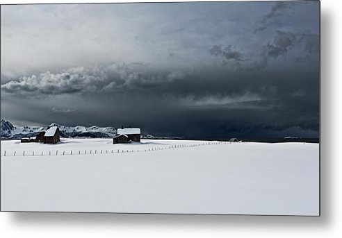 Stormy Clouds. Northern Parts Of Norway In April 2013 Metal Print featuring the photograph Black Clouds - White Snow by Frank Olsen