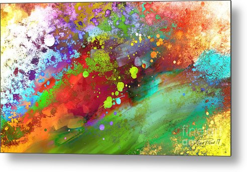 Abstract Metal Print featuring the painting Color Explosion Abstract Art by Ann Powell