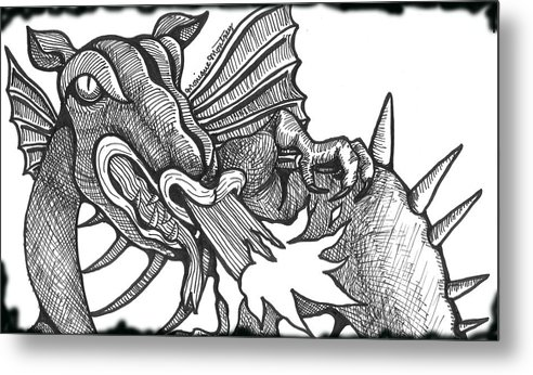 Dragon Metal Print featuring the drawing Dragon's Fire by Monique Montney