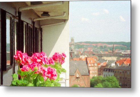 Aarhus Metal Print featuring the painting Flowers On The Balcony by Jeffrey Kolker
