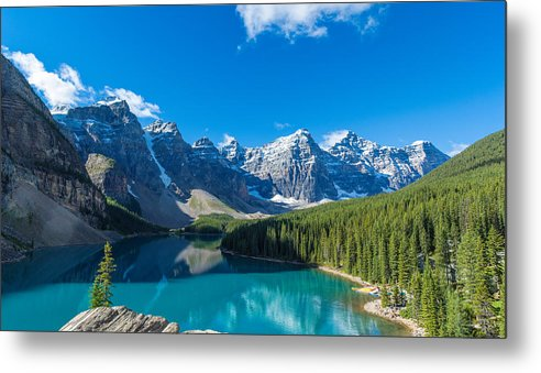 Photography Metal Print featuring the photograph Moraine Lake At Banff National Park by Panoramic Images