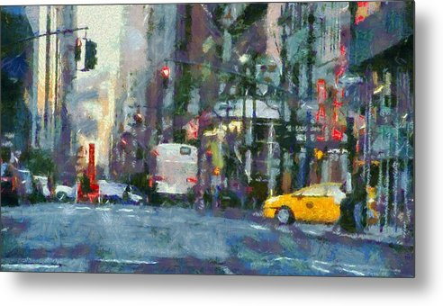 New York City Morning In The Street Metal Print featuring the painting New York City Morning In The Street by Dan Sproul