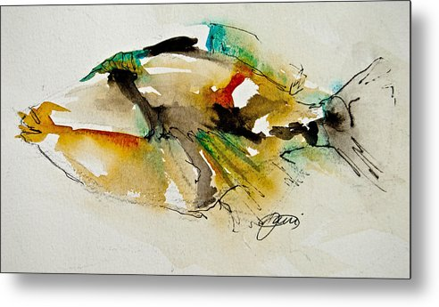 Fish Metal Print featuring the painting Picasso Trigger by Jani Freimann