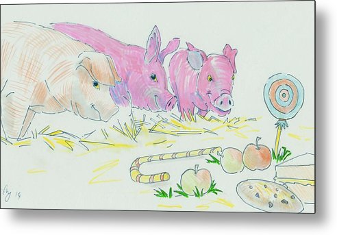 Cute Metal Print featuring the drawing Pigs Cartoon by Mike Jory