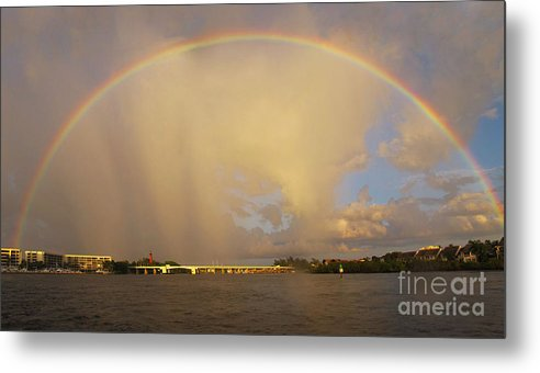Rainbow Metal Print featuring the photograph Rainbow Jupiter Inlet by Bruce Bain