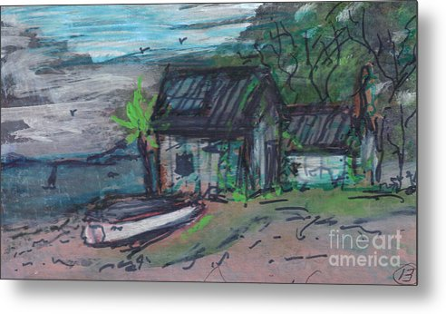 Metal Print featuring the painting Rusty Boathouse by Debbie Wassmann