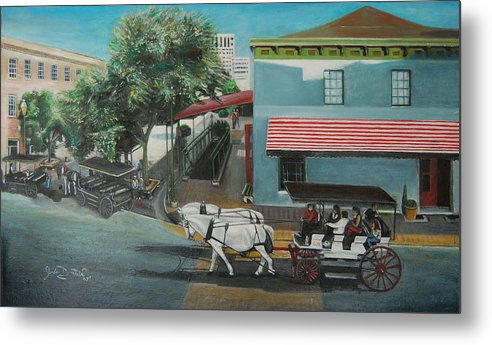 Metal Print featuring the painting Savannah City Market by Jude Darrien