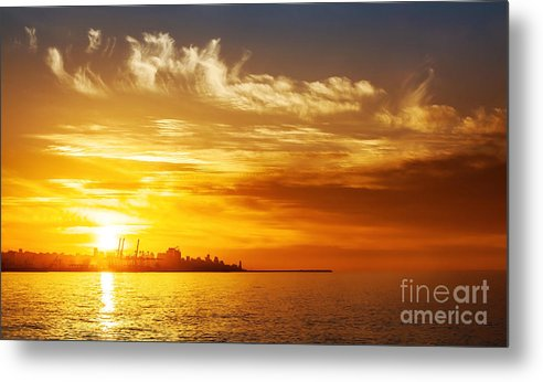 Beach Metal Print featuring the photograph Sunset On The Sea by Anna Om
