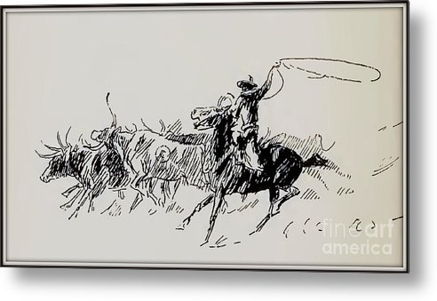 West Metal Print featuring the drawing The Stampede by Charles Russell