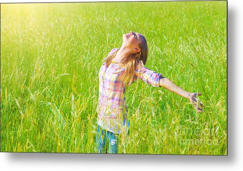 Active Metal Print featuring the photograph Woman Having Fun Outdoor by Anna Om
