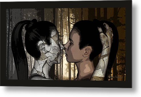 Woman Metal Print featuring the drawing Duality by Angela Conway