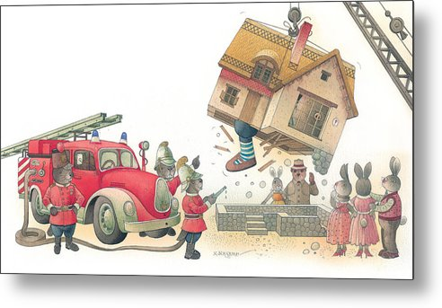 Fireman Rabbit Event Accident Red Metal Print featuring the painting Rabbit Marcus The Great 15 by Kestutis Kasparavicius