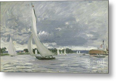 Regatta Metal Print featuring the painting Regatta At Argenteuil by Claude Monet