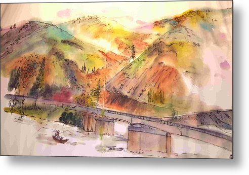 Idaho. Lewiston. Landscape. Cityscape. Architecture Metal Print featuring the painting A Trip To Lewiston In Autumn Album by Debbi Saccomanno Chan