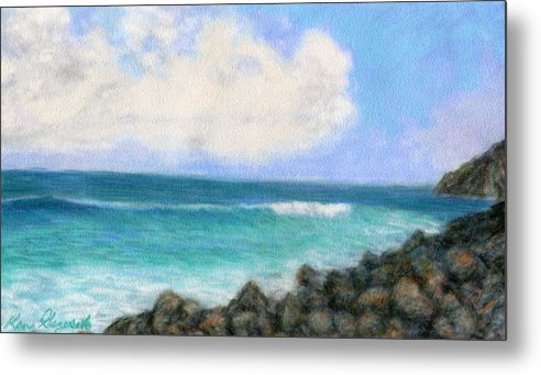 Rainbow Colors Pastel Metal Print featuring the painting Around The Point by Kenneth Grzesik