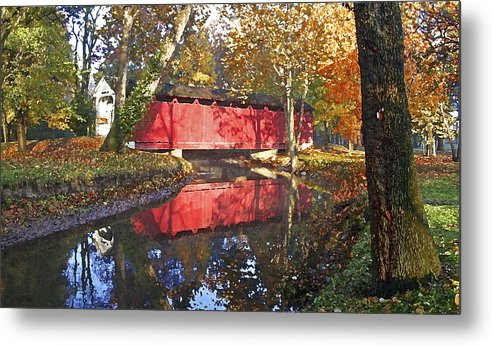 Covered Bridge Metal Print featuring the photograph Autumn Sunrise Bridge by Margie Wildblood