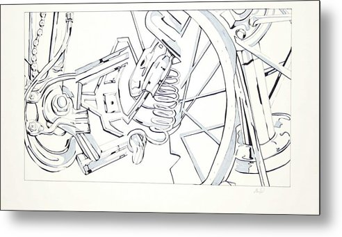 Bicycle Metal Print featuring the drawing Bicycle by Maryn Crawford