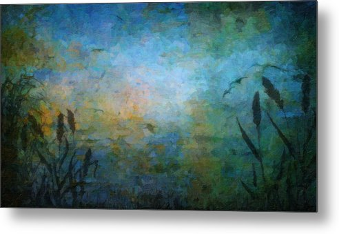 Blue Metal Print featuring the painting Birds Over The Lake by Kathie Miller