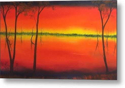 Metal Print featuring the painting Blood Orange Sunset by David O'Halloran