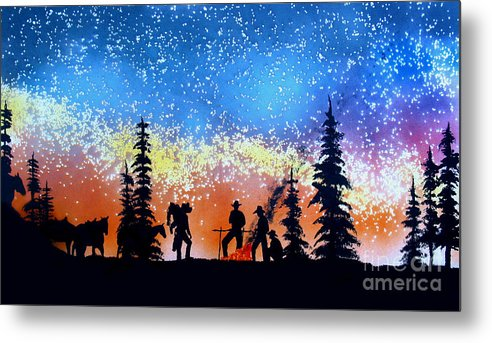Cowboy Metal Print featuring the painting Campfire Tales by Ed Moore