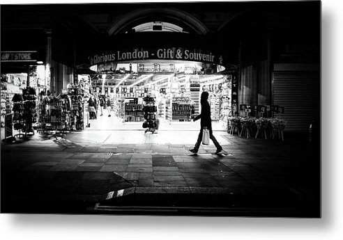 Black Metal Print featuring the photograph Coventry Street - London, England - Black And White Street Photography by Giuseppe Milo