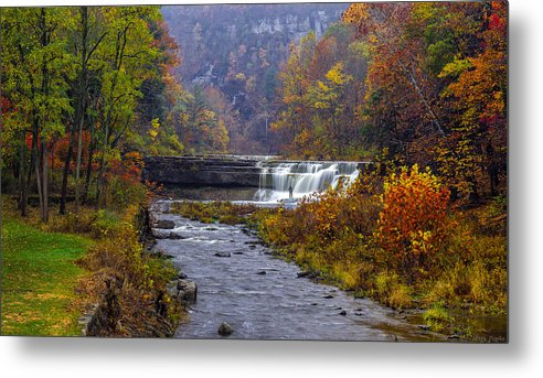 Taughannock Falls State Park Metal Print featuring the photograph Falls Fishing by Mark Papke
