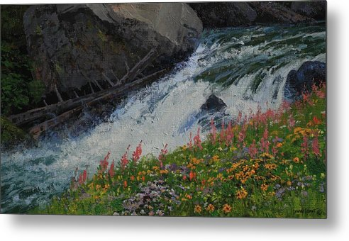 Landscape Metal Print featuring the painting Fireweed by Lanny Grant