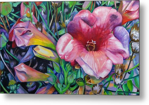 Flowers Metal Print featuring the painting In The Pink by Jeremy Holton