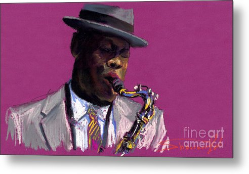 Jazz Metal Print featuring the painting Jazz Saxophonist by Yuriy Shevchuk