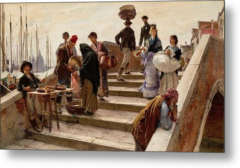 Metal Print featuring the painting Ludwig Johann Passini - A Busy Bridge In Venice 1876 by Ludwig Johann Passini